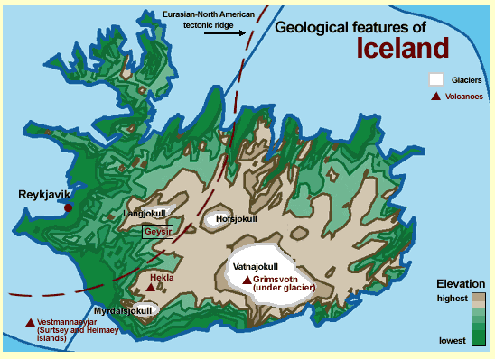 iceland volcano map. This map identifies two of