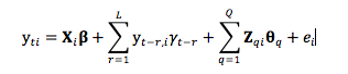 Figure 1. The statistic value-added model (covariate adjustment model) used to evaluate Florida teachers.