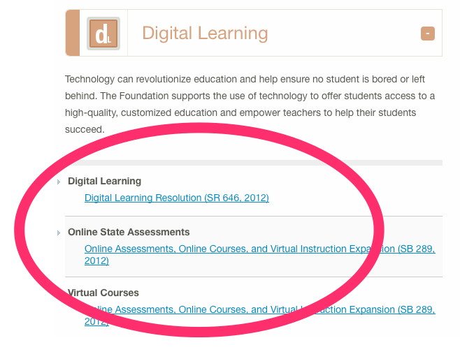 Figure 2. Georgia Legislation (circled in red) related to Digital Learning influenced by the Foundation for Excellence. Source: Foundation for Excellence in Education website.
